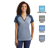 LADIES SPORT-TEK RAGLAN HEATHER BLOCK POLO SHIRT
